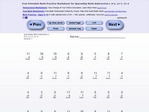 Spaceship Math Subtraction L Worksheet