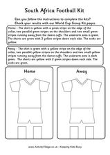 South Africa Football Kit Worksheet