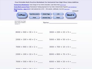 Addition: horizontal 4 digit Worksheet
