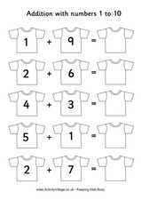 Addition with Numbers 1 to 10 Worksheet
