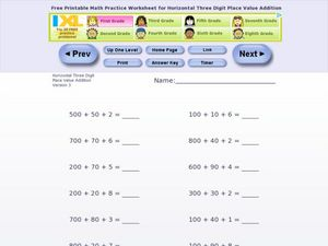 Horizontal 3 digit place value addition Worksheet