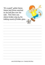 Soccer Accident Story Starter Worksheet