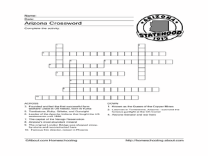 Arizona Crossword Worksheet