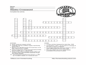 Alaska Crossword Worksheet