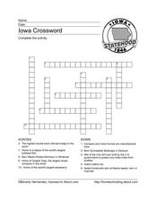 Iowa Crossword Worksheet