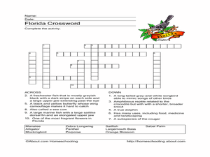 Florida Crossword Worksheet