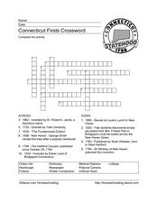 Connecticut Firsts Crossword Worksheet