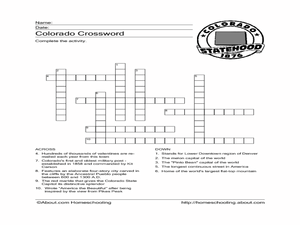 Colorado Crossword Worksheet