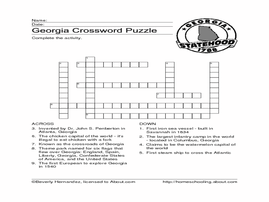 Workbooks states and capitals worksheets for 5th grade : Georgia Crossword Worksheet for 4th - 5th Grade | Lesson Planet