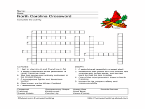 North Carolina Crossword Worksheet