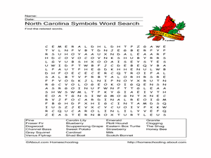 North Carolina Symbols Word Search Worksheet