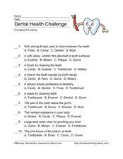 Dental Health Challenge 4th - 5th Grade Worksheet | Lesson Planet