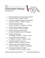 Dental Health Challenge Worksheet