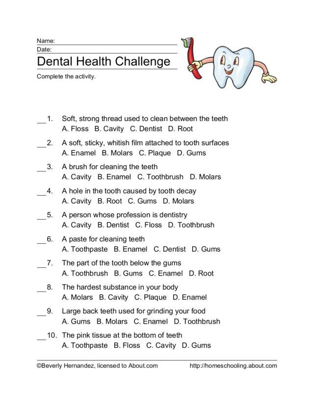 Dental Health Challenge 4th 5th Grade Worksheet – Dental Health Worksheets