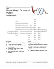Dental Health Crossword Puzzle Worksheet