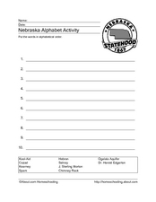 Nebraska Alphabet Activity Worksheet