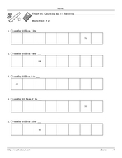 Finish the Counting 10 Pattern Worksheet