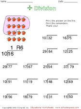 Division with Remainders 4 Worksheet