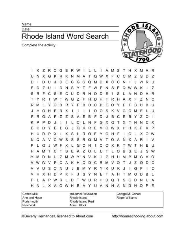 Rhode Island Word Search Worksheet