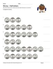Money: Half Dollars Worksheet