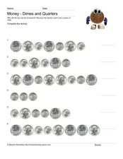 Money-Dimes and Quarters Worksheet