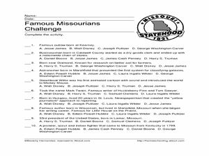 Famous Missourians Challenge Worksheet