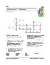 Medieval Times Crossword Worksheet