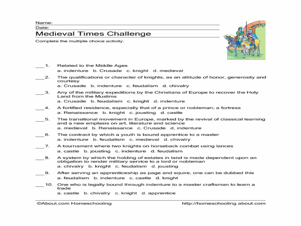 Medieval Times Challenge Worksheet for 5th - 7th Grade | Lesson Planet