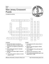 New Jersey Crossword Puzzle Worksheet