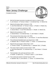 New Jersey Challenge Worksheet