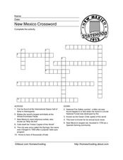 New Mexico Crossword Worksheet