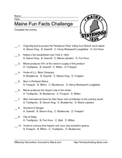 Maine Fun Facts Challenge Worksheet