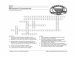 Montana Crossword Worksheet