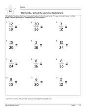 Simplify Fractions 2 Worksheet