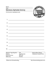 Montana Alphabet Activity Worksheet