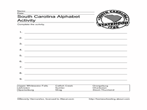 South Carolina Alphabet Activity Worksheet