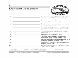 Maryland Vocabulary Worksheet