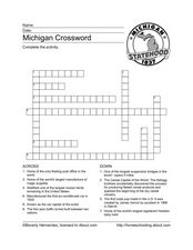 Michigan Crossword Worksheet