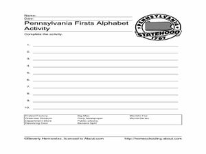 Pennsylvania Firsts Alphabet Activity Worksheet