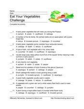 Eat Your Vegetables Challenge Worksheet