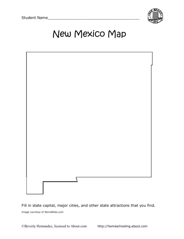 new mexico map worksheet for 4th 5th grade lesson planet. Black Bedroom Furniture Sets. Home Design Ideas