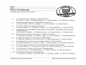 Ohio Challenge Worksheet