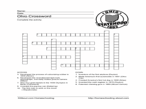 Ohio Crossword Worksheet