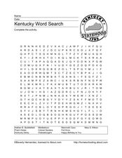 Kentucky Word Search Worksheet