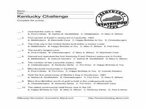 Kentucky Challenge Worksheet