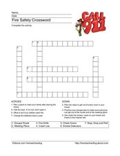 Fire Safety Crossword Worksheet