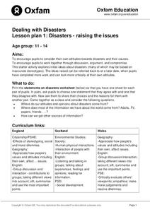 Disasters: Raising the Issues Lesson Plan