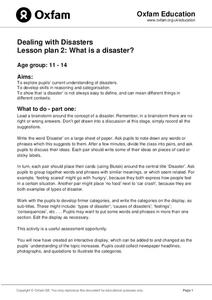 Dealing with Disasters: What is a Disaster? Lesson Plan