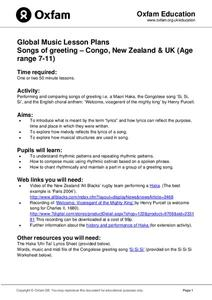 Global Music Lesson Plans: Songs of Greeting – Congo, New Zealand & UK Lesson Plan