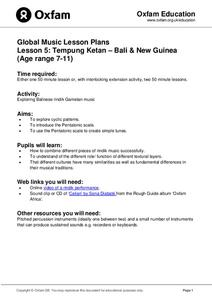 Global Music: Tempung Ketan - Bali & New Guinea Lesson Plan